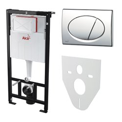 Набор инсталляции для унитаза 4 в 1 Alcaplast A101/1200+M071+M91 с кнопкой хром глянец