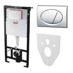 Набор инсталляции для унитаза 4 в 1 Alcaplast AM101/1120+M70+M91 с белой кнопкой