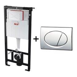 Набор инсталляции для унитаза 3 в 1 Alcaplast A101/1200+M71 с кнопкой хром глянец