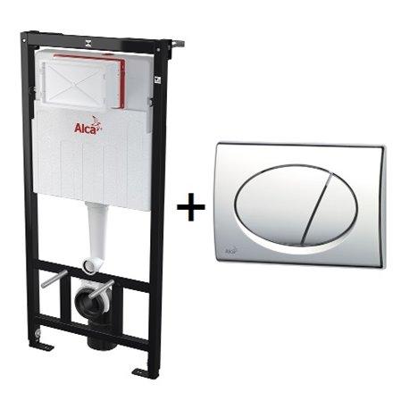 Набор инсталляции для унитаза 3 в 1 Alcaplast A101/1200+M070 с кнопкой хром глянец