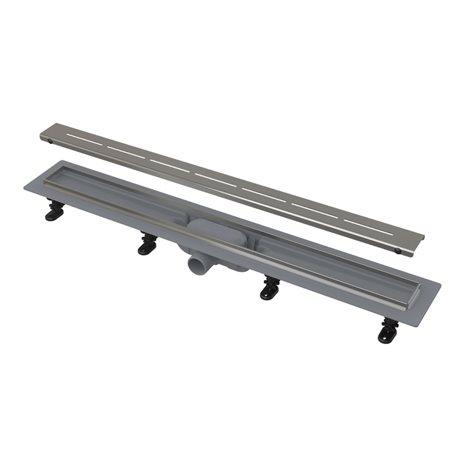 Водоотводящий желоб Alcaplast APZ18 Simple с решеткой, с порогами из нержавеющей стали, горизонтальный выпуск