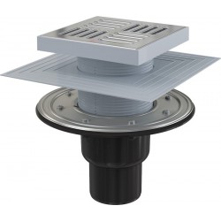 Сливной трап Alcaplast APV4444 150x150/50/75 выпуск прямой, гидрозатвор + сухой